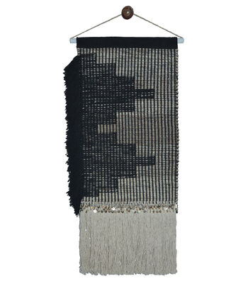 Idea Market Hand-Done 16''x24'' Handwoven Wall Hanging-Black & Ivory