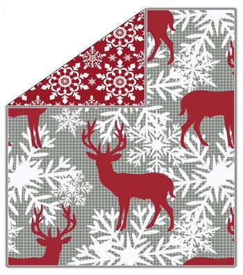 """No Sew Throw Fleece Fabric 72""""-Deer Snowflake On Buffalo Check"""