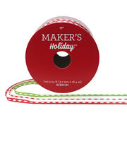 Maker's Holiday Satin Ribbons 1/8''x54'-Red, Green & White with Stitch, , hi-res