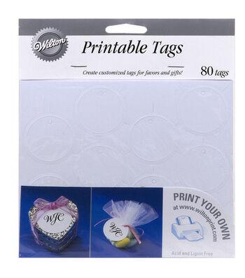 Wilton® 80ct Printable Circle Favor Tags-White