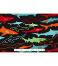 Anti-Pill Fleece Fabric 59\u0022-Shark Tank On Black