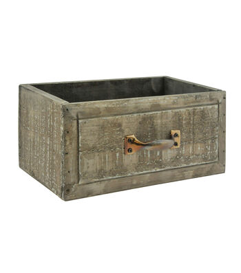 Bloom Room 8.5'' Antique Stained Wood Drawer Planter