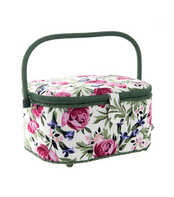 Large Oval Sewing Basket-White & Pink Rose