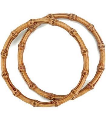 "Clover Plastic Round Handles Bamboo-Nat. 6-1/4"""