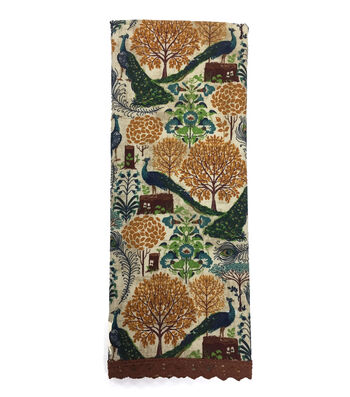 Fall Into Color 16''x28'' French Terry Hand Towel-Peacock & Botanical