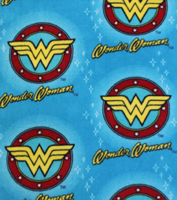 "DC Comics Wonder Woman Fleece Fabric 58""-Logo And Stars"