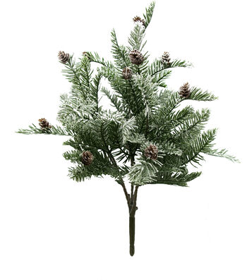 Blooming Holiday Christmas Flocked Pine & Pinecone Spray-Green & White