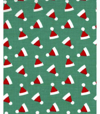 "Holiday Showcase™ Christmas Cotton Fabric 43""-Ditsy Santa Hats Green"