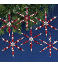 Solid Oak Nostalgic Christmas Beaded Crystal Snowflake Ornament Kit-Ruby
