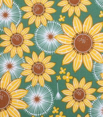 """Holiday Showcase™ Harvest Cotton Fabric 43""""-Large Sunflowers"""