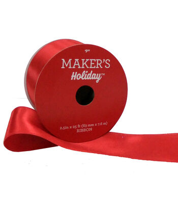 Maker's Holiday Christmas Satin Ribbon 2.5''x25'-Red