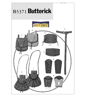 Butterick Pattern B5371 Adult Wrist Bracers, Corset, Belt & Pouches
