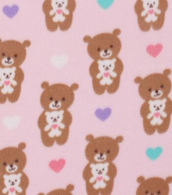 "Blizzard Fleece Fabric 59""-Hugging Pink Teddy Bear"