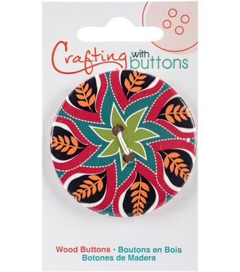 Crafting with Buttons Global Chic 1.75'' Wood Button-Haiti