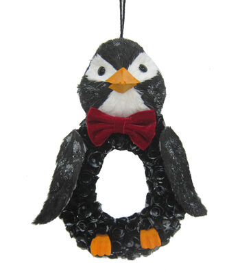 Blooming Holiday Christmas Woodcurl Penguin Wreath
