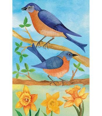 Porch Décor Fabric Flag 12''x18''-Bluebirds & Daffodils