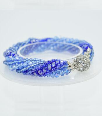 Crystal Multi Strand Bracelet-Shaded Blue
