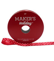 Maker's Holiday Christmas Satin Ribbon 3/8''X9'-White Dots on Red, , hi-res