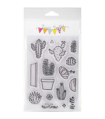 "Jane's Doodles Clear Stamps 4""X6""-Cactus"