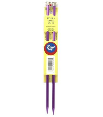 "Boye Single Point Aluminum Knitting Needles 10""-Sz 10"