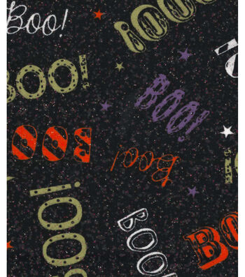 "Halloween Cotton Fabric 43""-Boo On Black Glitter"