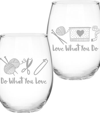 Knit Happy 2 Sided Stemless Glass-Do What You Love & Love What You Do