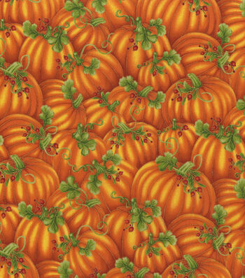 "Harvest Cotton Fabric 44""-Packed Pumpkins Metallic"