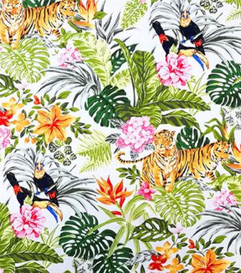 "Cotton Shirting Tropical Fabric 57""-Jungle Friends"