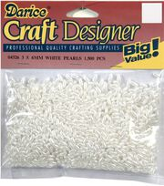 Darice Craft Designer 3x6mm Loose Pearls-1500PK/White, , hi-res
