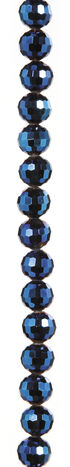 7\u0022 Bead Strands - Blue Metallic Faceted Crystal Rounds, 10mm