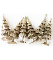 Maker's Holiday Christmas Littles 6 pk Plastic Trees-Champagne, , hi-res