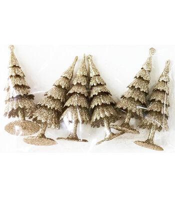 Maker's Holiday Christmas Littles 6 pk Plastic Trees-Champagne