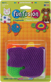 Perler Small Color Pegboards-Dog/Fish/Cat/Turtle 4/Pkg, , hi-res
