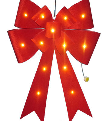 Maker's Holiday Christmas Velvet Bow with LED-Red
