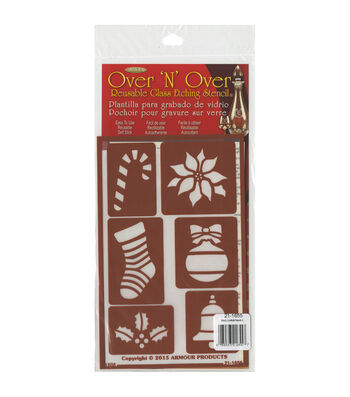 Armour Products Over 'N' Over Reusable Glass Etching Stencil-Christmas 2