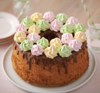 Angel Foodcake with Meringue Swirls