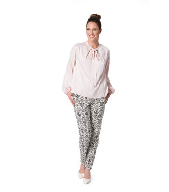 Light Pink Stretch Tunic and Navy & Ivory Damask Twill Pants