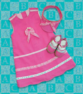 Ribbon-Trimmed Dress, Visor & Shoes
