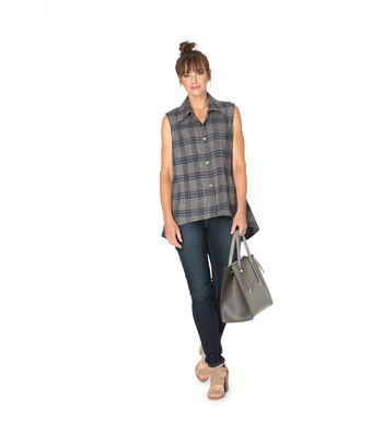 Navy Gray Plaid Flannel Sleeveles Button Up Blouse