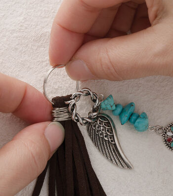 Make A Suede And Turquoise Fringe Keychain