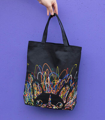 How To Make A Neon Dog Face Black Tote