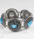 Sliders Blue Crystal Large Round Bracelet