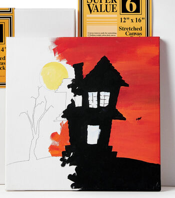 How To Paint A Spooky House Canvas