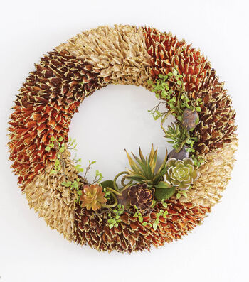 Silk Floral Succulent Wreath