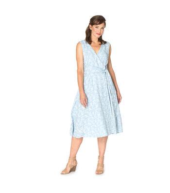Light Wash Floral Denim Wrap Dress