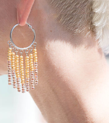 Make Beaded Fringe Hoop Earrings