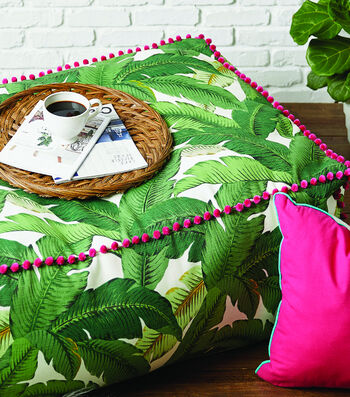 How To Sew A Large Ottoman With Ball Fringe