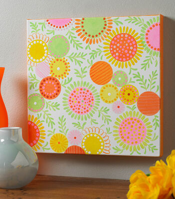 How To Make A Circles and Dots Floral Canvas