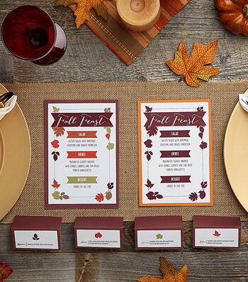 Fall Menu and Placecard Printables