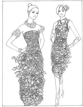 Dover Creative Haven Flower Fashion Fantasies Sample Coloring Printables